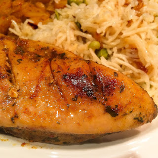 Simple Grilled BBQ Chicken Breast with Peas Pulao