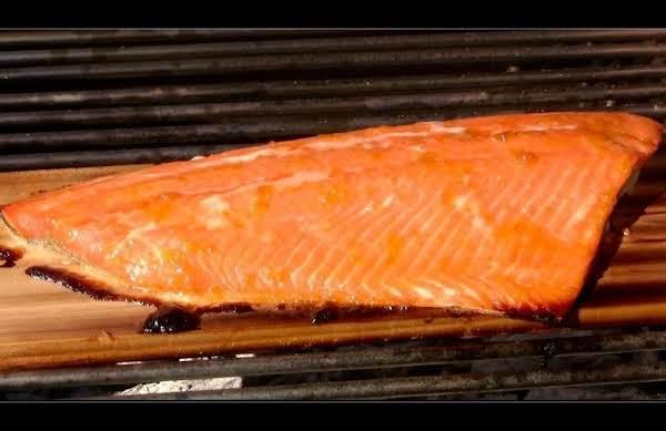 Orange Plum Wine Glazed Cedar Plank Salmon