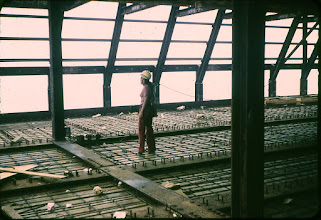 Photo: Sue T. on the top floor of the North Tower of the WTC.