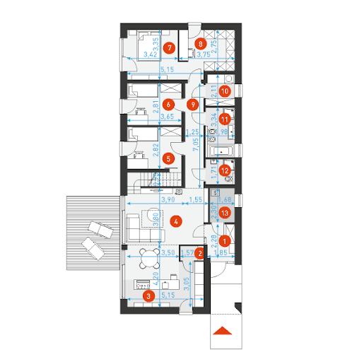 Ekonomiczny 2B - Rzut parteru z wymiarami pomieszczeń