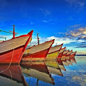 blue ocean by Herry Suwondo - Transportation Boats ( benoa, bali, blue, boats, reflections )