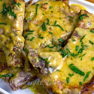 Slow Cooker Pork Chops with Golden Ranch Gravy.