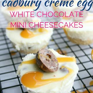 Cadbury Creme Egg White Chocolate Mini Cheesecakes.