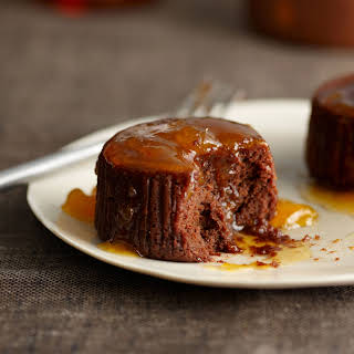 Warm Chocolate Cakes with Apricot-Cognac Sauce.