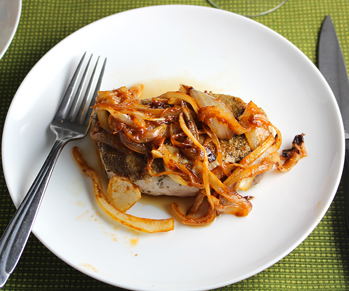 Cumin Sage Rubbed Pork Chops with Onion Sauce Recipe