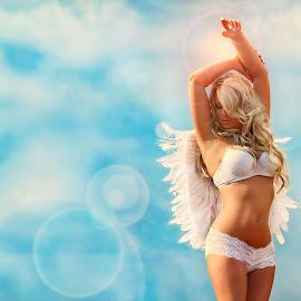 by Jonatan Kubena - People Fashion ( angel, sky, blue sky, portraits of women, wings, portrait )