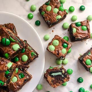 Chocolate Mint Triple Decker Brownies.