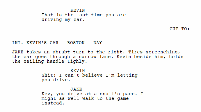 Use Cut To in a Screenplay