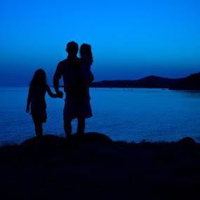 Family by Goran Kojadinovic - People Family ( vacation, family, sunset, greece, sea,  )