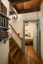 Photo: Interior, vertical, lower level hallway and stairway looking into bathroom, Giles residence, Dandridge, Tennessee; Hearthstone Homes