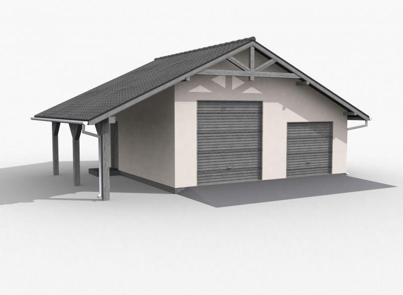 Projekt Garażu G6 Szkielet Drewniany Garaż Dwustanowiskowy Z Wiatą