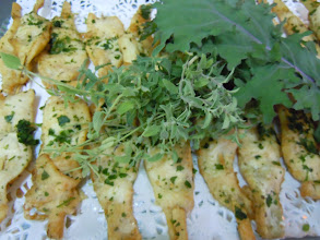 Photo: brochette de limande tempura au coriandre