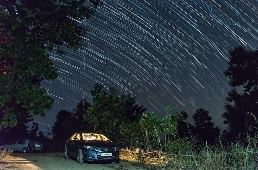 Shower in Sky by Himanshu Jethva - Landscapes Starscapes ( astro, sky, stars, astrophotography, stargazer, skylines, star trails, astronomy )