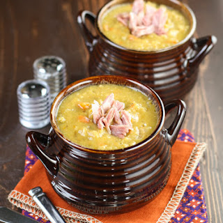 Slow Cooker Split Pea Soup with Ham.