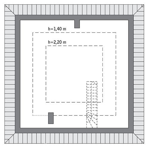 Czterolistna koniczyna - wariant VII - C444g - Rzut poddasza do indywidualnej adaptacji (34,4 m2 powierzchni użytkowej)