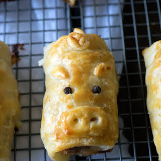 Pork Bacon and Cheese Sausage Rolls.