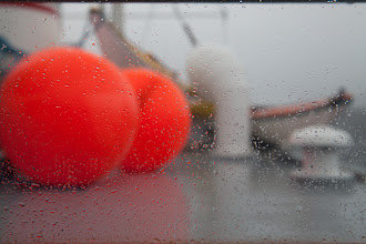 Photo: An abstract view of the roof of the ship, as seen through a window in the wheelhouse.