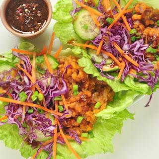Asian Vegetable Lettuce Wrap with Peanut Sauce Recipe