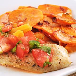 Roasted Tilapia with Chunky Tomato-Orange Salsa.