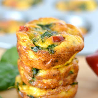 Spinach and Red Pepper Mini Frittatas.