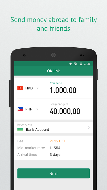 Oklink Send Money Anywhere Instantly Android S Agg
