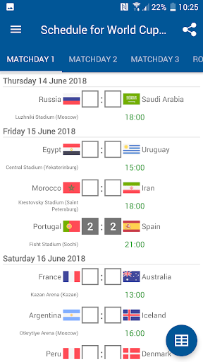 Schedule for World Cup 2018 Russia 1.0.0 screenshots 3