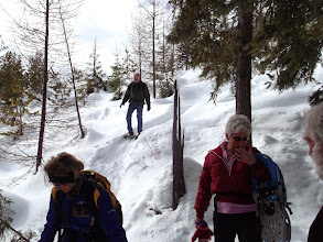 Photo: Feb 2014 snowshoe on Mom' - Stigs connector - steep downhill - needs a switchback.