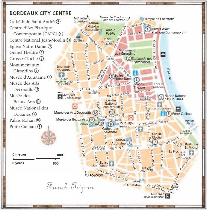Достопримечательности Бордо на карте города