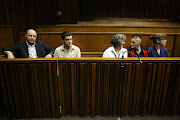 "APRIL 16, 2018. Zak Valentine, Le Roux Steyn, Marinda Steyn, Cecilia Steyn and Marcel Steyn. The alleged ""Krugersdorp killers""' a group of six accused of carrying out 11 vicious murders' are seen in the High Court in Johannesburg."