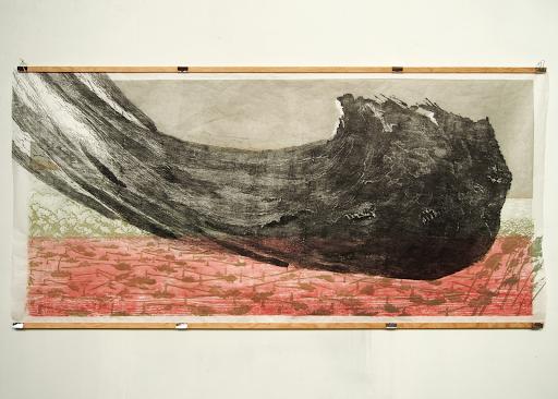 Mortenson_Les Landes I, 2019, gravure sur bois 97 x 200 cm