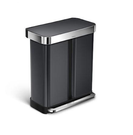 2-facks pedaltunna Simplehuman 58 liter(34/24) svart, rostfritt stål