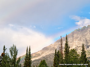 Photo: Faint rainbow at Jenny Lake boat dock