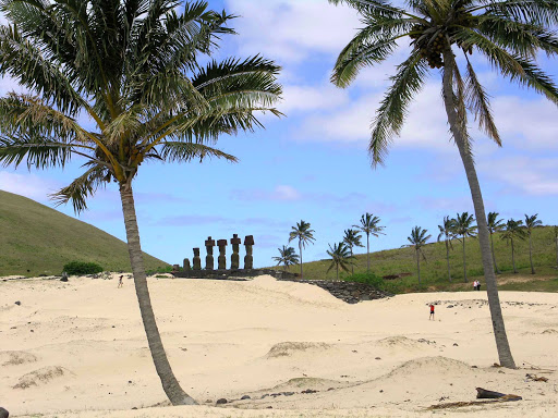 The moai statues near the coastline of Easter Island.