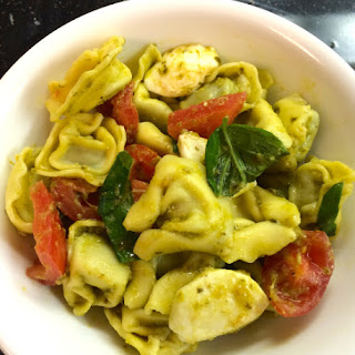 Mozzarella, Tomato and Pesto Tortellini Salad.