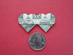 Photo: Model: Dollar Double-Heart;  Back shown here, this is a small model, it's one of my favorites to fold, this one came out really well;  Creator: unknown;  Folder: William Sattler;  1 dollar;  Source: Stephen Hecht's Origami Diagrams http://www.serve.com/hecht/origami/diags.htm