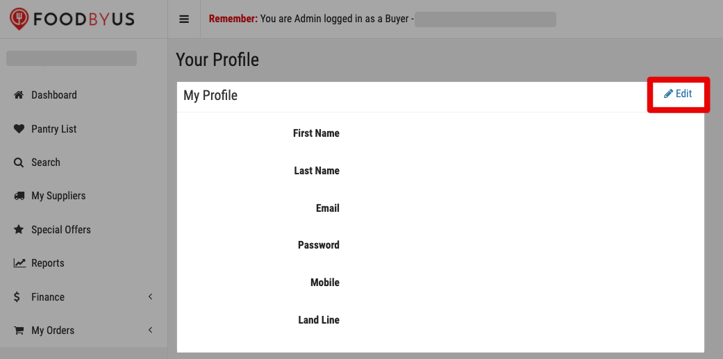 FoodByUs edit personal profile