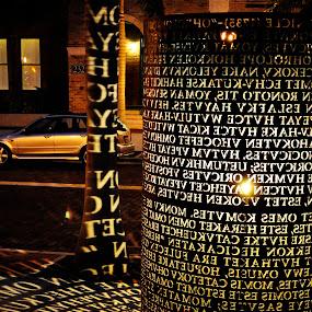 monument2 by Eliani Miranda - City,  Street & Park  City Parks ( car, vertical, building, letter, shadow, white, night, black )
