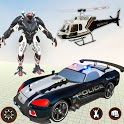 Flying Grand Police Car Transform Robot Games icon