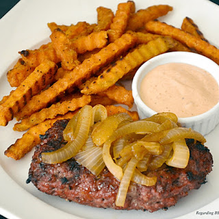 Grilled Hamburger Steaks and Onions.