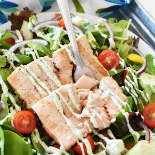 15 Minute Salmon Salad with Cilantro Greek Yogurt Dressing Recipe