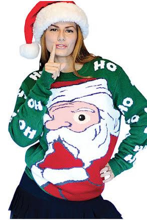 Jultröja Peeking Santa - XL