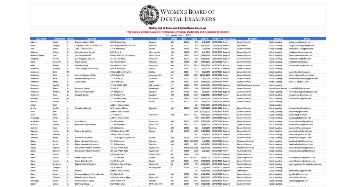 Dentist Mailing List - Google Sheets