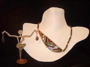 Photo: <BEREHYNYA> {Great Goddess Protectress} unique one-of-a-kind statement jewellery by Luba Bilash ART & ADORNMENT  FORTUNE-TELLER - ВОРОЖКА - copper enamel pendant, labradorite, rose gold vermeil SOLD/ПРОДАНИЙ