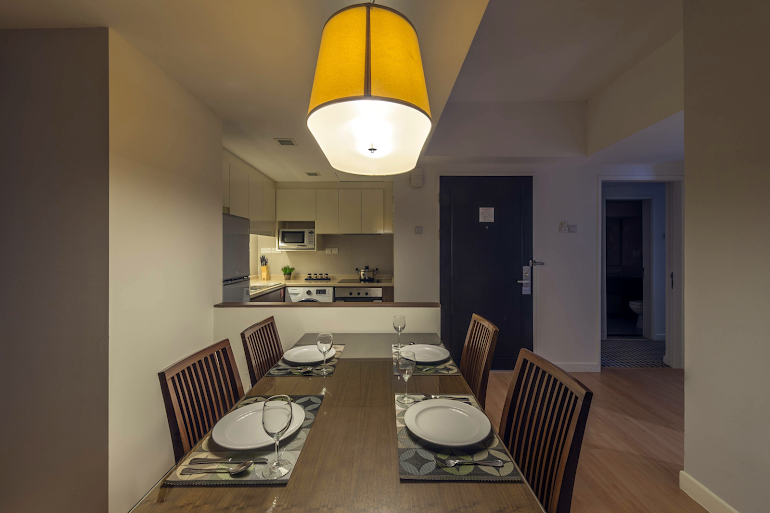 Dining space at Somerset Liang Court. Robertson Quay