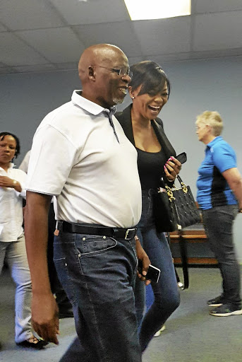 Bonang Matheba with her stepfather Joe Mokoena.