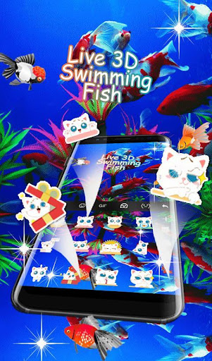 Live 3D Swimming Fish Keyboard Theme 6.5.22 screenshots 5