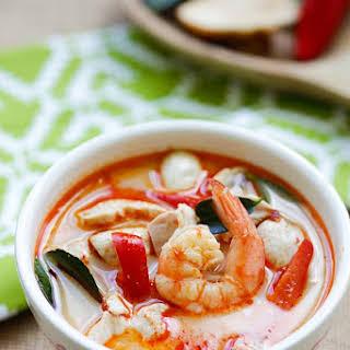 Thai Coconut Chicken and Shrimp Soup.