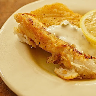 CAJUN FISH WITH CREAMY CAPER SAUCE.