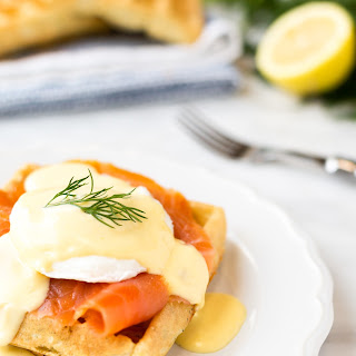 Smoked Salmon Eggs Benedict with Dill Waffles.