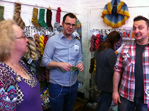 Photo: Yeah, we mostly hung out with Jon and Roy. Here Francois is also at the stand discussing yarns, colors and trips...